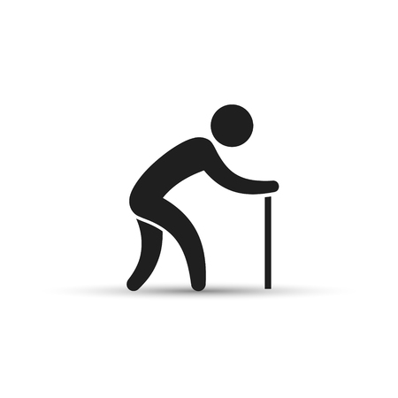 hunched: Old man with a cane black silhouette flat vector icon. Illustration