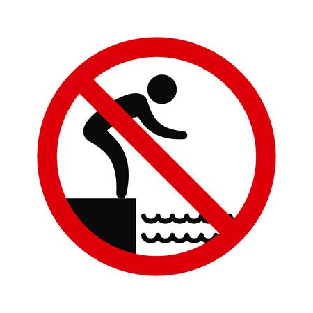 jumping into water: No jumping into water hazard warning sign. Vector symbol. Illustration