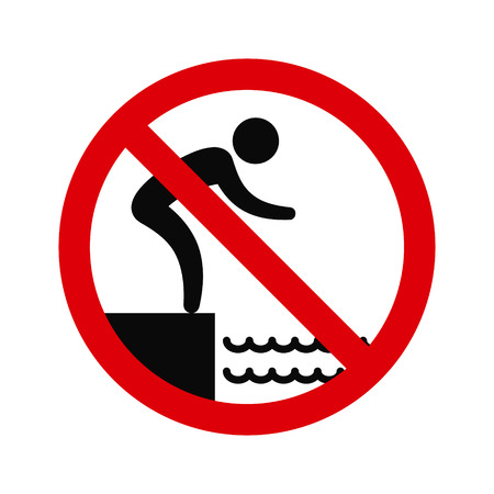 No jumping into water hazard warning sign. Vector symbol. Vectores