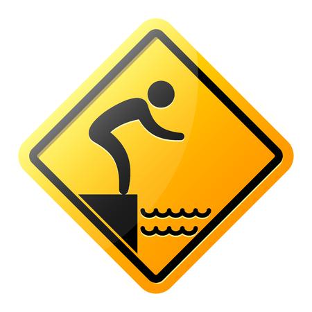 jumping into water: No jumping into water hazard warning yellow sign. Vector symbol.