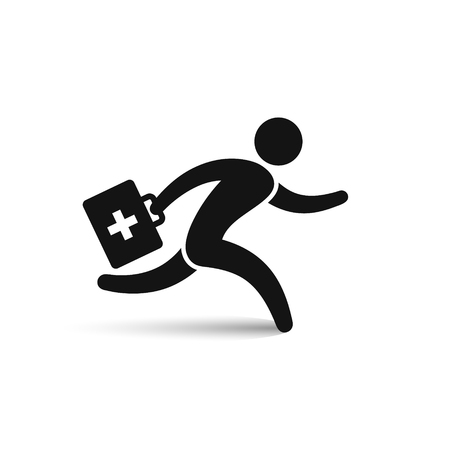 Running doctor hurrying to patient icon, vector isolated simple symbol.