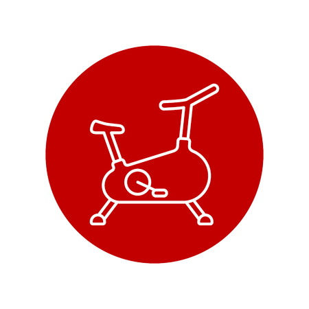 Stationary bicycle, Exercise Bike line icon outline, vector sign isolated on white bacground.