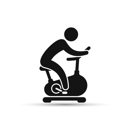 Man training on exercise bike icon. Vector icon isolated on white background. 矢量图像