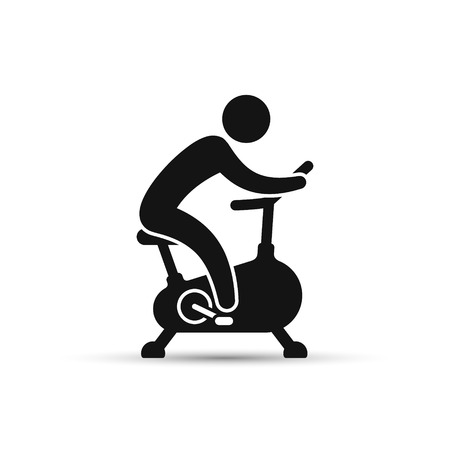 Man training on exercise bike icon. Vector icon isolated on white background. Иллюстрация