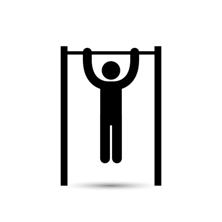 Man doing pull ups icon, vector isolated simple silhouette.