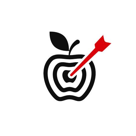 Target apple with arrow icon.