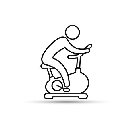 Hombre entrenando en el icono de esbozo de bicicleta estática. Icono de vector aislado sobre fondo blanco.