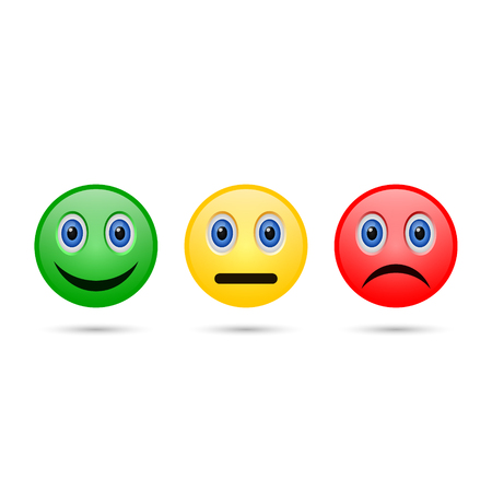 Emoticon evaluation feedback icon, smiley with different mood. Vector. Ilustracja