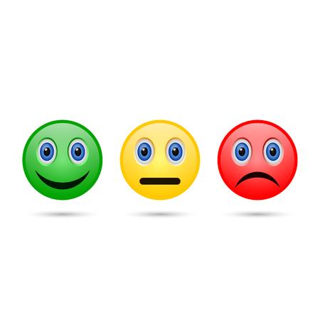 Emoticon evaluation feedback icon, smiley with different mood. Vector. Vettoriali