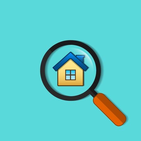 Real Estate Symbol Of House Under Magnifying Glass Vector Flat