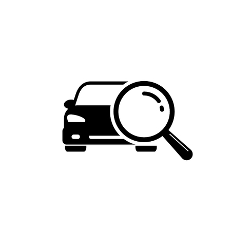 Looking for car selling icon, magnifying glass search car, vector logo illustration.