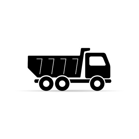 Dump truck tipper icon, Vector simple Illustration on white background. Ilustrace