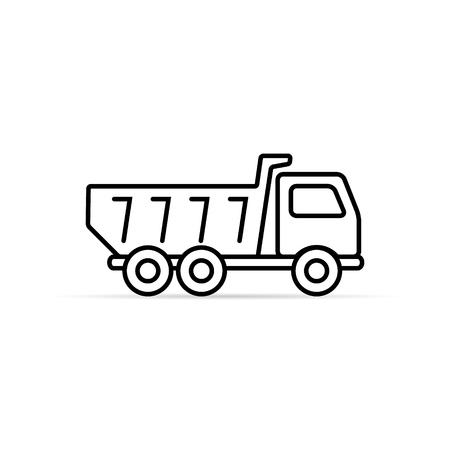 Dump truck tipper outline icon, Vector simple Illustration on white background.