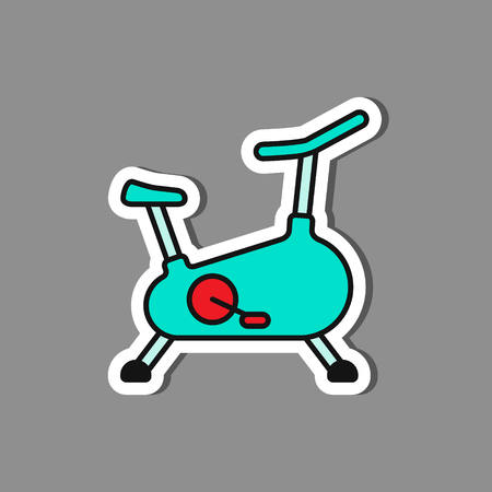 Stationary bicycle, Exercise Bike paper sticker, vector label or badge.