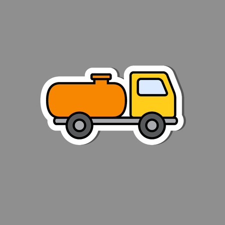 Vector illustration in paper sticker style Tank trailer illustration.
