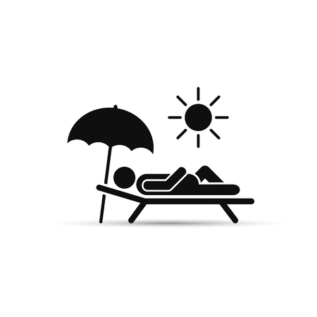 daybed: Man relax on beach under an umbrella on chaise-longue. Vector sea rest illustration. Illustration