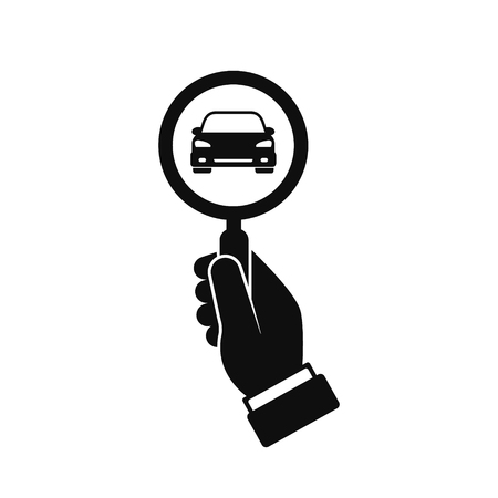 Looking for car icon, hand hold magnifying glass search car, vector logo illustration.