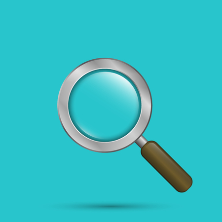 Magnifying glass vector illustration isolated on blue background. Illustration