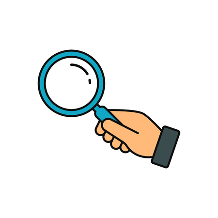 Hand holding magnifying glass icon. Vector flat color search symbol. Looking concept.