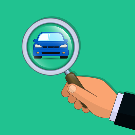 Hand with magnifier search a car vector illustration. Find car concept. Illustration
