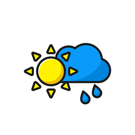 moon shadow: Weather icon, sun with clouds and rain icon, vector illustration.