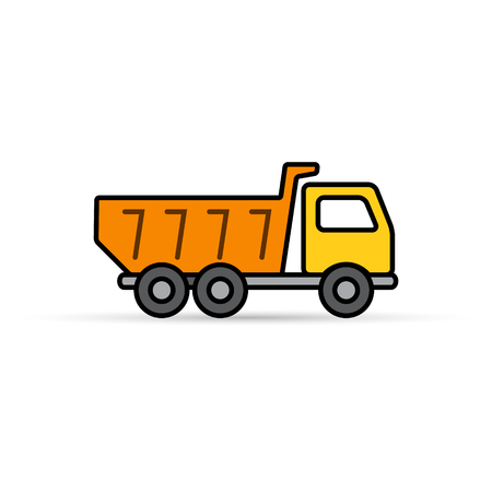 mine site: Dump truck tipper color icon, Vector simple Illustration on white.