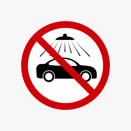 No car wash vector sign. Vector carwash prohibiting symbol. 일러스트