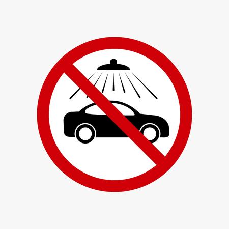 No car wash vector sign. Vector carwash prohibiting symbol. Ilustração