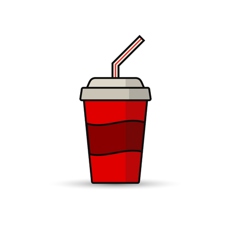 tubule: Soda paper cup icon. Vector illustration. Cool drink concept icon.
