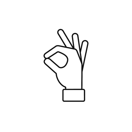 Okay hand outline line icon, Vector ok symbol isolated positive black sign. Illustration