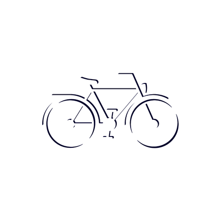 Bicycle fixie outline drawing icon, side view, vector bike illustration.
