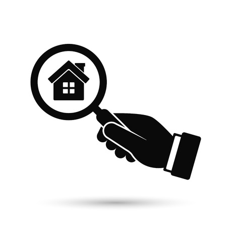 Hand with magnifier look for home vector icon. Search for home estate or buying concept icon. Illustration