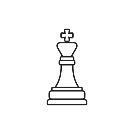 Chess king outline icon. Vector isolated line symbol.