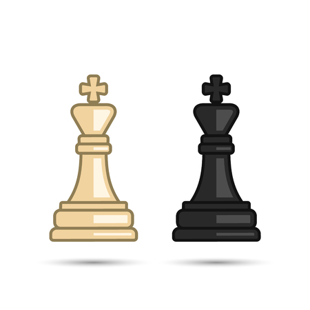 Chess king icon set. Vector black and white chess king figure.