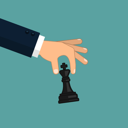 Hand holding chess figure illustration. Vector business strategy concept in flat style.