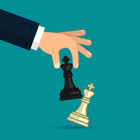 Hand holding chess figure black king. Business strategy planning and management, victory concept. Vector illustration flat design.