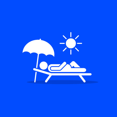 Man relax on beach under an umbrella on chaise-longue, white icon on blue background. Vector sea rest vacation symbol. Illustration