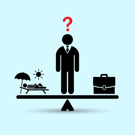 Man decide work or vacation concept. Work vs relax illustration. Concept of life and work balance. Vector.