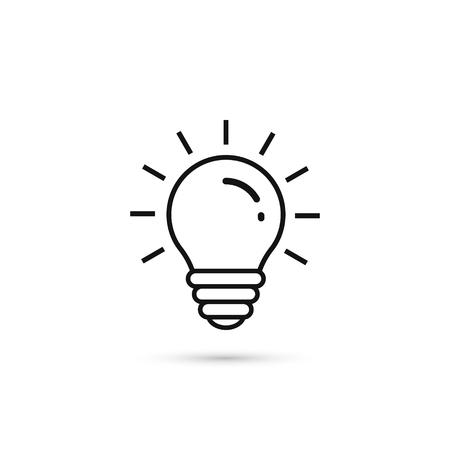 Icône de ligne ampoule, symbole de contour de vecteur isolé sur fond blanc. Signe de l'idée. Vecteurs