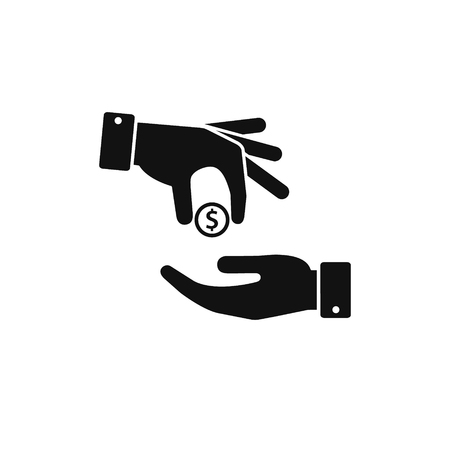 Hand gives money coin to other person icon, give alms, donate web icon. Vector.