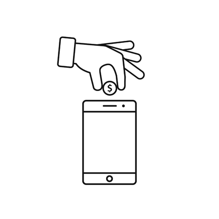 calculate: Hand put coin in phone icon. Billing, funding your account phone line icon. Vector illustration.