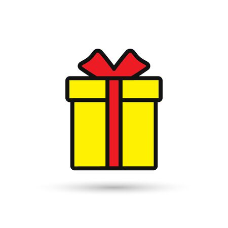 Gift box color icon, Vector isolated outline simple symbol. Illustration