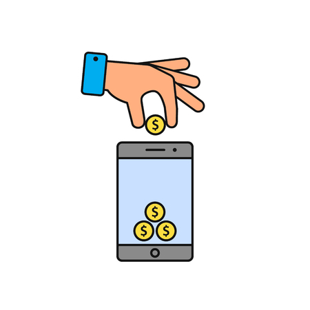 Hand put coin in phone icon. Billing, funding your account phone color icon. Vector illustration.