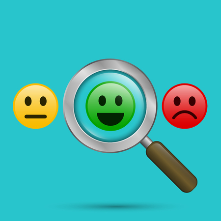 Find positive people concept. Magnifying glass with positive and negative emoticon. Search positive smiley among negative emoticons. Vector color illustration.