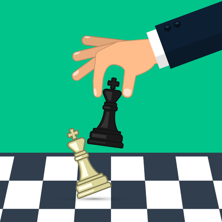 Hand holding chess figure black king. Business strategy. Concept planning and management. Vector illustration.