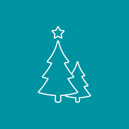 Christmas Trees Line Icon Vector Outline Simple Decoration Element