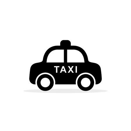 Taxi icon. Vector isolated simple taxi cab symbol in flat design. Side view illustration.
