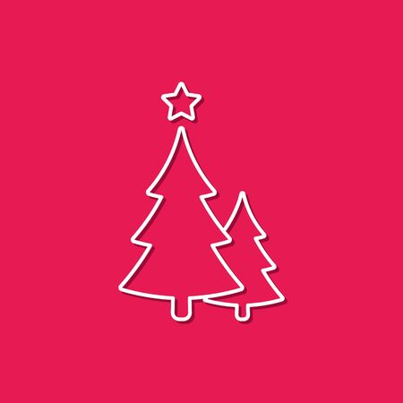 Christmas Trees Icon Vector Outline Simple Decoration Element