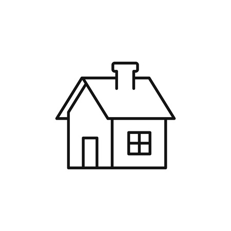 House line icon, home outline symbol, Vector isolated flat illustration. Side view. Real estate, rent house.