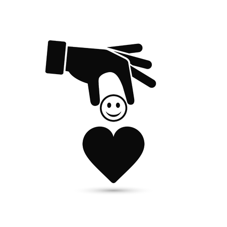 Hand put emoticon smile in heart, giving a good mood concept illustration. Vector.